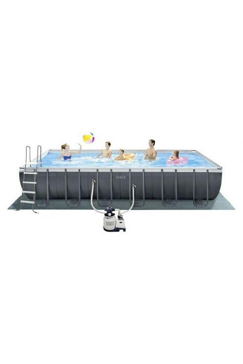 Montažni bazen Intex Ultra Quadra XTR (d 732 x š 366 x v 132 cm, peščeni filter: 6.000 l/h, z lestvijo, zaščitno podlogo in ponjavo)