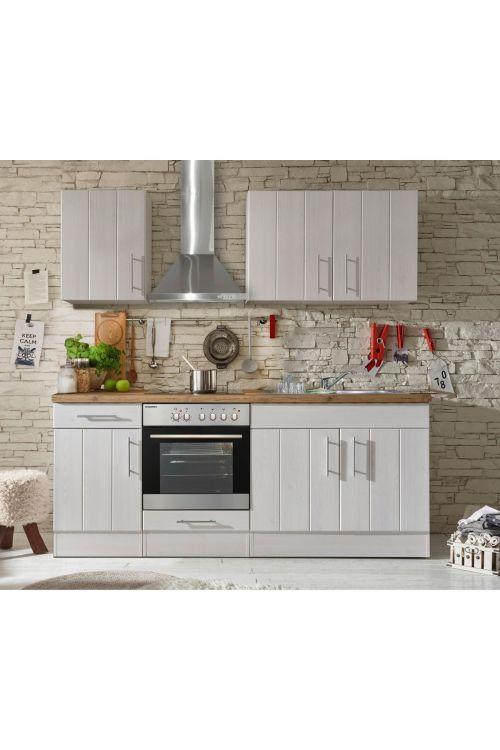 Kuhinjski komplet Respekta Premium BERP (210 cm, z el. napravami, imitacija macesna, bele barve)