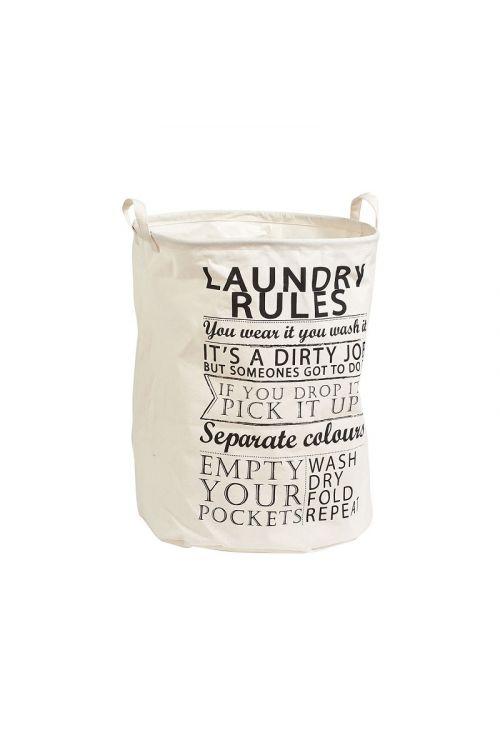 Koš za perilo Zeller Laundry Rules (48 x 38 cm, z ročaji, črno-bel, poliester)