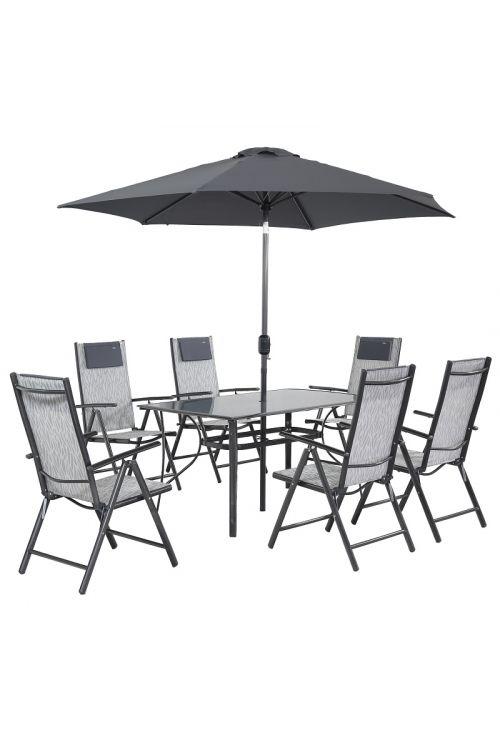 Vrtni set Siesta (6x stol d 65 x š 65 x v 107, miza d 150 x š 90 x v 72 cm s steklom deb. 5 mm, senčnik Ø 270 cm, jekleno ogrodje, brez blazin, stone grey barve)