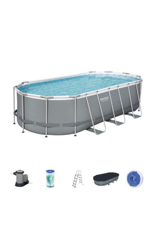 Montažni bazen Bestway Power steel (d 549 x š 274 x g 122 cm, filtrska črpalka 5.678 l/h, lestev, ponjava)