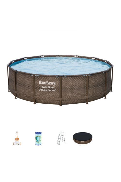 Montažni bazen Bestway Poweer steel Deluxe (š 427 x g 107 cm, filtrska črpalka 2.574 l/h, lestev, ponjava)