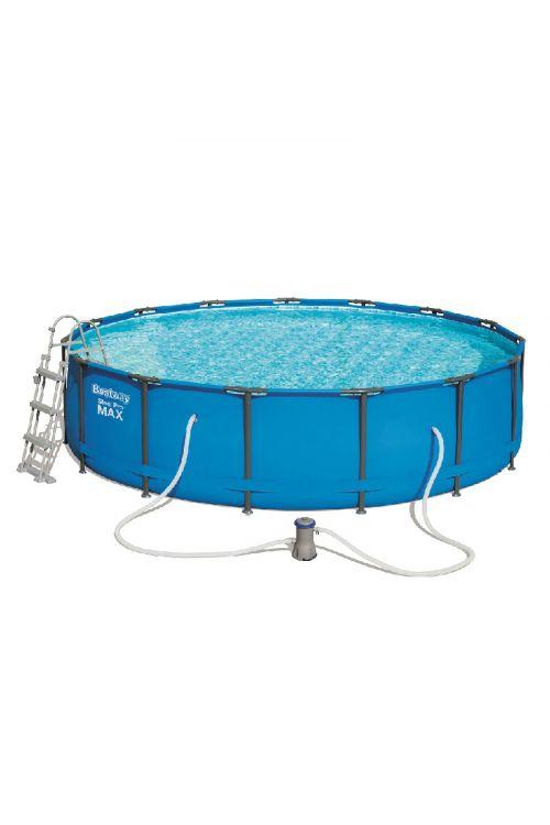 Montažni bazen Bestway steel Pro Max (š 457 x g 107 cm, filtrska črpalka 3.028 l/h, lestev , ponjava)