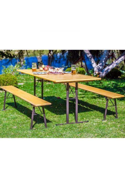 Gasilska garnitura Exclusive (miza d 200 x š 80x v 77,5 cm, 2 x klop 200 x š 30 x v 47 cm, jekleno ogrodje, smreka/jelka)