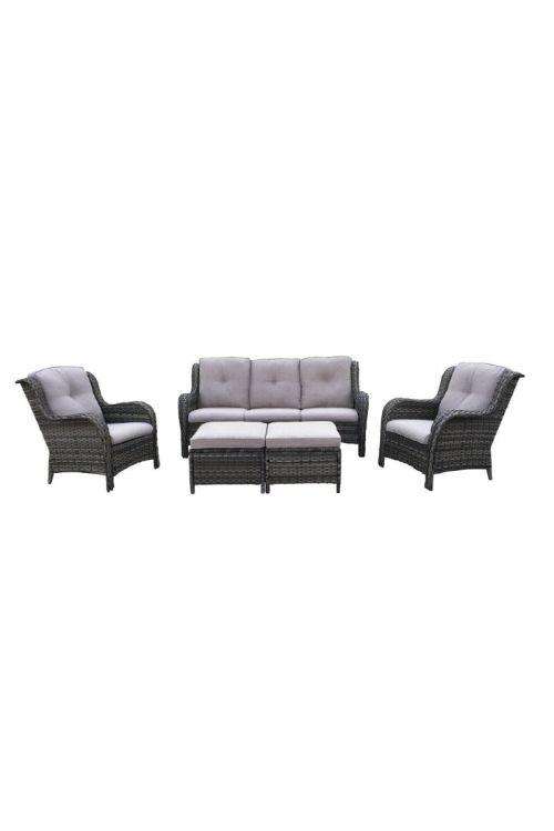 Lounge set SUNFUN Pinehurst (trosed d 191 x š 86 x v 89 cm, 2 x naslanjač d 81 x š 86 x v 89 cm, 2 x otoman d 68,5 x š 47 x v 42,5 cm, jekleno ogrodje, PE pletivo, z blazinami)
