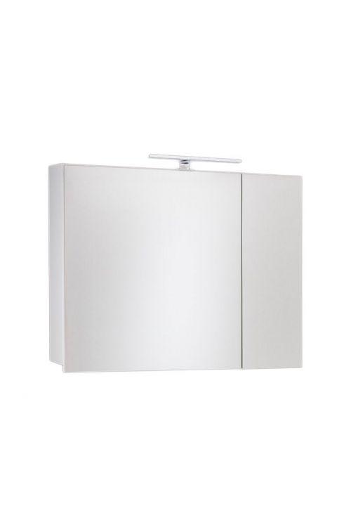 Omarica z ogledalom Tia (80 cm, bela, sijaj, LED)