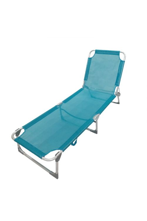 Ležalnik za kampiranje Sunfun Ocean (d 186 x š 56 x v 25 cm, aluminijasto ogrodje, tekstilen, modre barve)