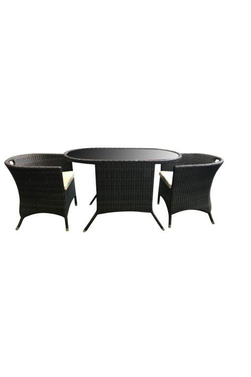 Balkonski set SUNFUN Zoey (2 x stol d 64 x š 119 x v 74,5 cm, miza d 59 x š 55 x v 74,5 cm s steklom deb. 5 mm, aluminijasto ogrodje, PE pletivo)