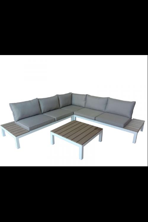 Lounge vrtna garnitura SUNFUN Mila (levi in desni dvosed d 166 x š 80 x v 63 cm, kotni sredinski del d 80 x š 80 x v 63 cm, mizica d 76 x š 76 x v 30 cm, aluminijasto ogrodje, polywood, z blazinami)
