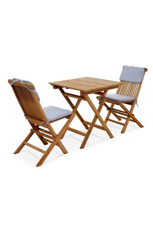 Balkonski set SUNFUN Bristol (2 x zložljiv stol d 47 x š 63 x v 69 cm, zložljiva mizica d 70 x š 70 x v 75 cm, tikovina, z blazinami)