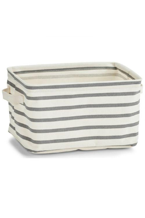 Košara za shranjevanje Stripes (28 x 21 x 16 cm,  z ročaji, sivo-bež , tkanina)