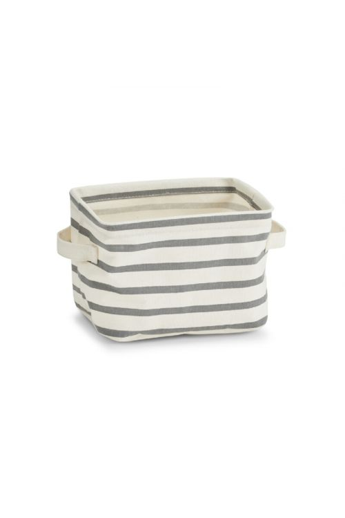 Košara za shranjevanje Stripes (21 x 17 x 14 cm,  z ročaji, sivo-bež, tkanina)