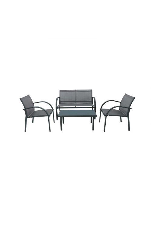 Lounge vrtna garnitura SUNFUN Daisy (dvosed d 107 x š 62,5 x v 78 cm, 2 x stol d 60 x š 62 x v 78 cm, miza s stekleno ploščo d 90 x š 50 x v 41 cm, jekleno ogrodje, tekstilen)