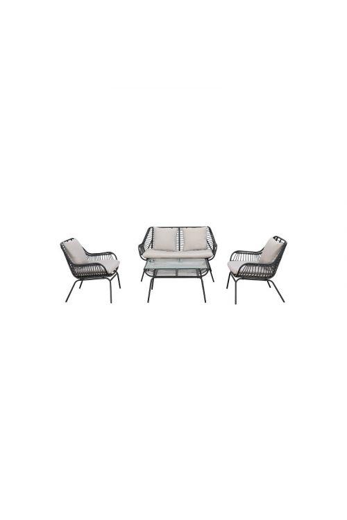 Lounge set SUNFUN Sintra (dvosed d 119 x š 67 x v 75 cm, 2 x stol d 69 x š 67,8 x v 75 cm, miza d 80 x š 50 x v 44,4 cm, jekleno ogrodje, PE pletivo)