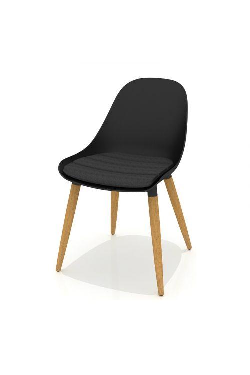 Vrtni stol Sensum Vasa (d 55,4 x š 50,3 x v 77,7 cm, nakladalni, recikliran material Duraland, lesene nogice, črne barve)