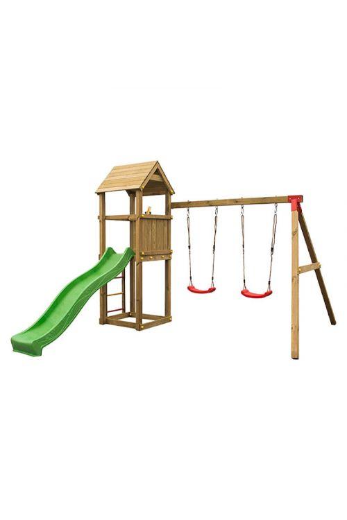 Otroški igralni stolp (2 gugalnici, tobogan, lestev, d 389 x š 318 x v 252 cm, impregniran les bora)