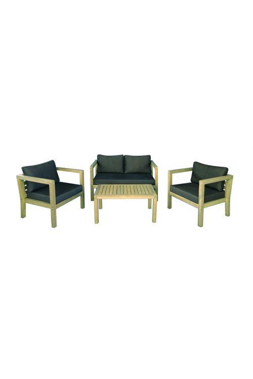 Lounge vrtna garnitura SUNFUN Lena (dvosed d 125 x š 70 x v 64 cm, 2 x stol d 67,5 x š 70 x v 64 cm, miza d 90 x š 50 x v 40 cm, jekleno ogrodje, akacijev les, z blazinami)