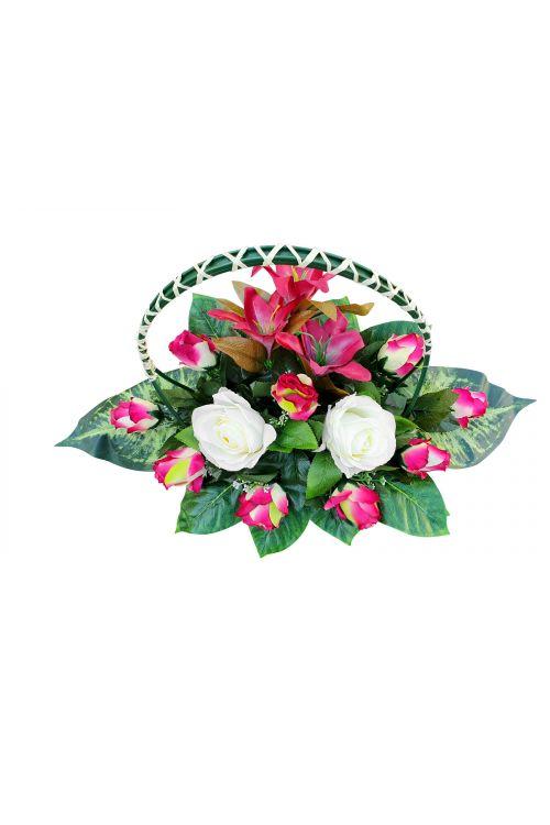 Cvetlični aranžma (umetne rože: vrtnice, drugo rastlinje)
