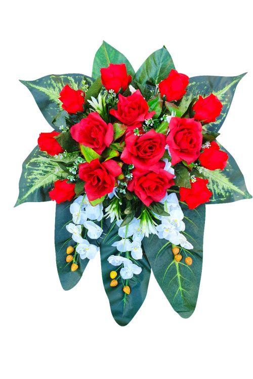Cvetlični aranžma (umetne rože: vrtnice in orhideje, drugo rastlinje)