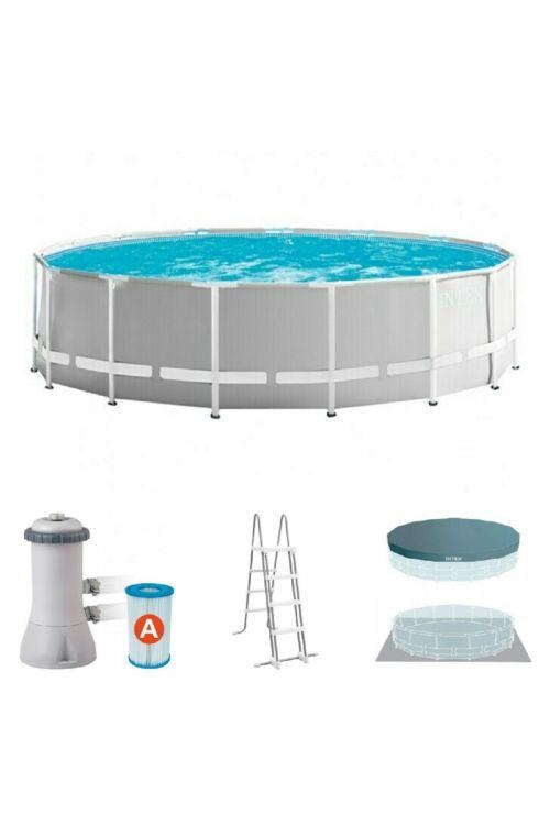 Montažni bazen Intex Prism Frame Set (Ø 457 x v 122 cm, filter kartuša 3.785 l/h, z lestvijo, zaščitno podlogo in ponjavo)