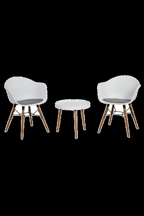 Balkonski set Nora (2 x stol d 61 x š 79 x v 56 cm, miza Ø 50 cm,  nogice iz akacijevega lesa, umetna masa)
