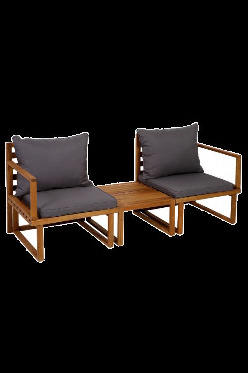 Balkonski set Dijon (2 x stol d 60 x š 74 x v 66 cm, miza d 50 x š 30 x 63 cm, akacijev les, z blazinami)