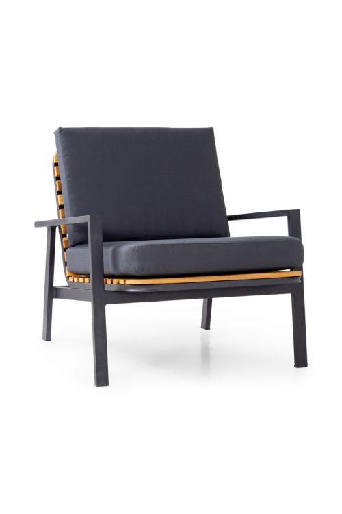 Lounge naslonjač SUNFUN Hampton (d 75,5 x š 79,5 x v 75 cm, aluminijasto ogrodje, akacijev les, z blazinami)