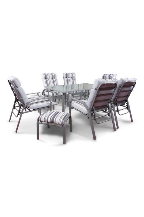 Jedilna garnitura SUNFUN Marbella (6 x stol d 75 x š 63,5 x v 98 cm, 2 x otoman d 51,5 x š 45,5 x v 40 cm, miza s stekleno ploščo, d 160 x š 90 x v 74 cm, z blazinami)