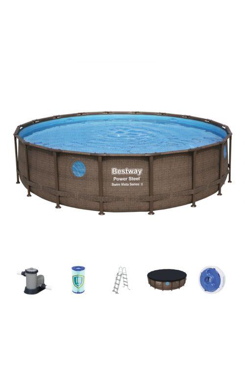 Montažni bazen Bestway Power steel Vista (š 549 x g 122 cm, filtrska črpalka 5.678 l/h, lestev, ponjava)