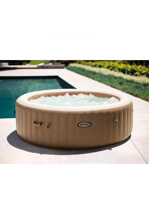 Masažni bazen Intex Pure Spa Bubble Massage Set (premer 216 x v 71 cm, za 6 oseb, 140 zračnih šob, črpalka 1.741 l/h, moč ogrevanja 2,2 kW, z izolacijskim pokrovom)