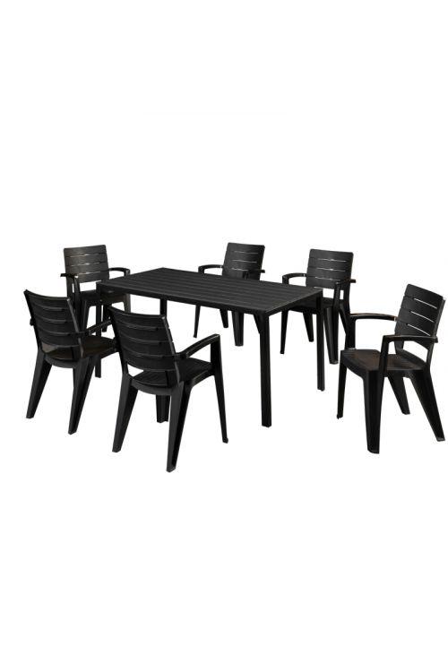 Vrtni set California (6 x stol d 56,5 x š 58,7 x v 86 cm, miza d 160 x š 83,5 x v 60 cm, plastika)