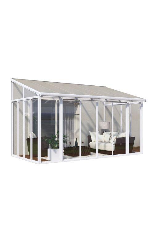 Veranda SANREMO (3 x 4,25 m, bela/transparent, dvojna drsna vrata z možnostjo zaklepanja, aluminijasti robusni profili)