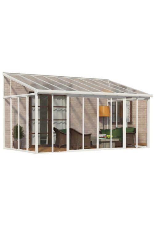 Veranda SANREMO (3 x 5,56 m, bela/transparent, dvojna drsna vrata z možnostjo zaklepanja, aluminijasti robusni profili)