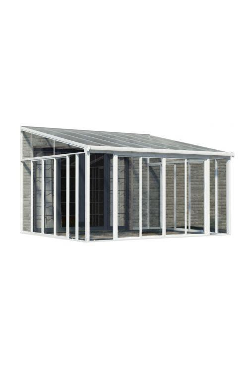 Veranda SANREMO (4 x 4,25 m, bela/transparent, dvojna drsna vrata z možnostjo zaklepanja, aluminijasti robusni profili)