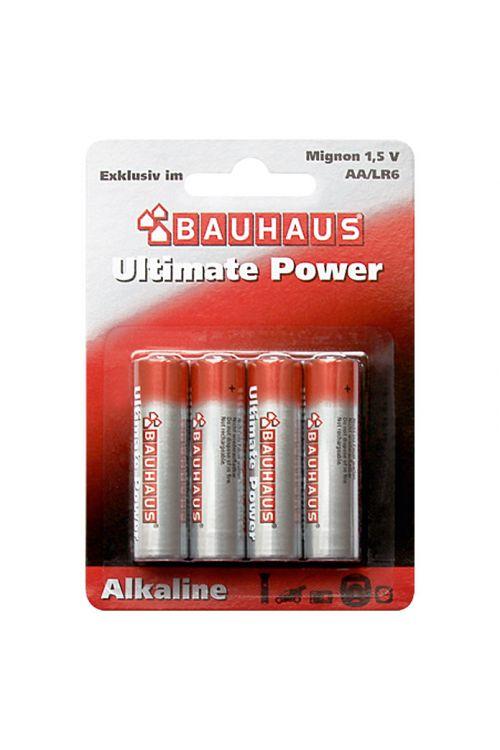 Alkalna baterija Bauhaus Ultimate Power (Mignon AA, alkalno-manganova, 1,5 V, 4 kosi)