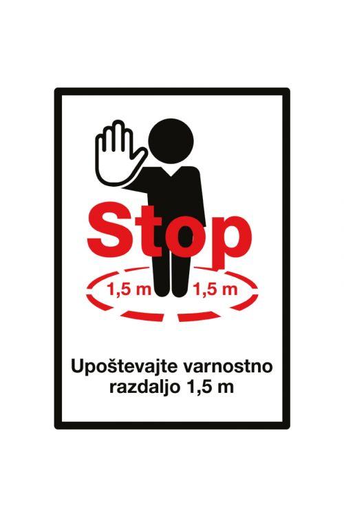 """Nalepka """"Stop! Upoštevajte varnostno razdaljo 1,5 m"""" (210 x 1 x 300 mm)"""