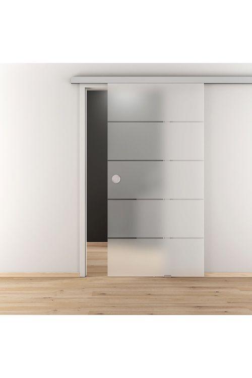 Steklena drsna vrata Jubidoor 6.0, Diamond Doors (kaljeno varnostno steklo (ESG), funkcija samodejnega mehkega zapiranja Soft-Close, 935 x 2058 mm)