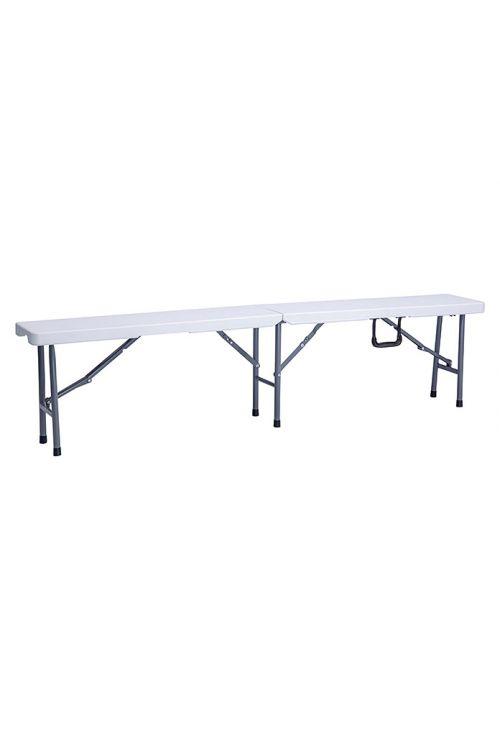 Zložljiva klop (d 180 x š 25 x v 43 cm, kovinsko ogrodje, plastika, bele barve)