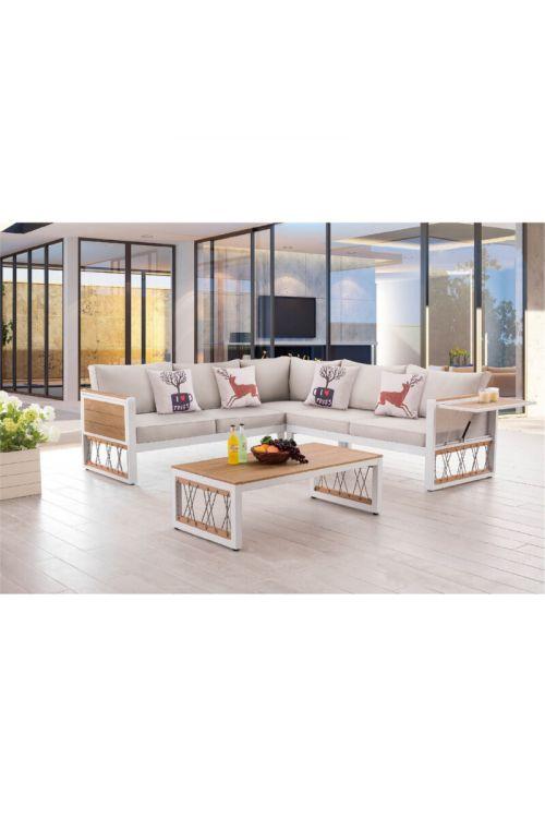 Lounge vrtna garnitura Sunfun Penny (3-delna, jeklo, FSC evkaliptus)