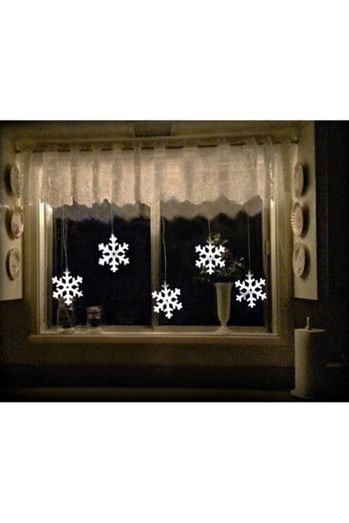 Okenska zavesa 5 snežink LED (bela, 60 diod)