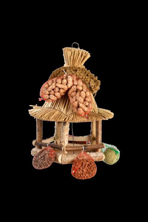 Ptičja krmilnica s slamnato streho (polnjena)