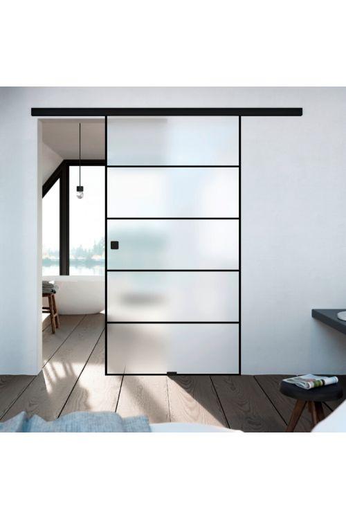 Steklena drsna vrata Diamond Doors Black Lines (935 x 2.058 mm, varnostno kaljeno steklo)
