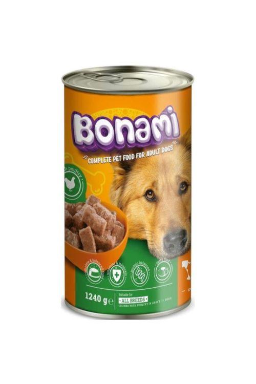 Hrana za pse v konzervi Bonami (1,24 kg, perutnina)