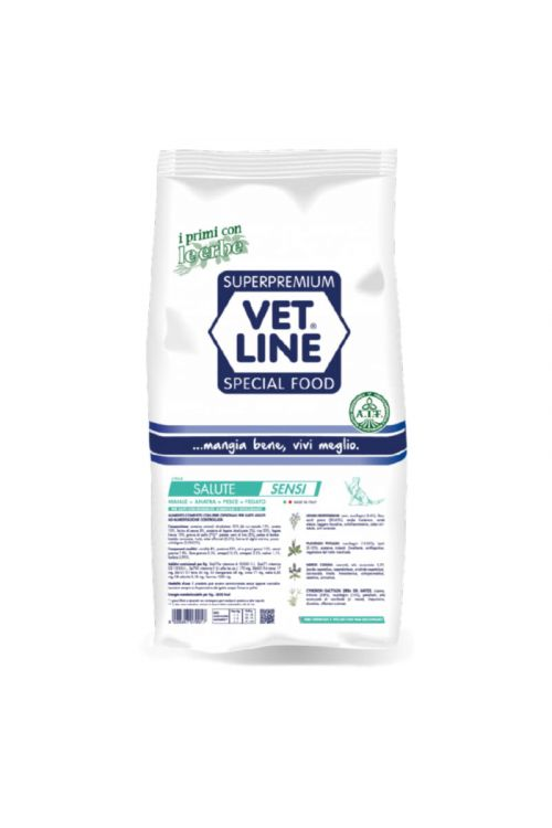 Briketi za mačke Vet Line Health (1 kg, svinjina, raca in riba)