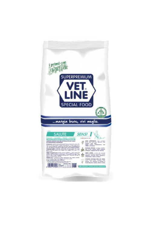 Briketi za mačke Vet Line Health (400 g, svinjina, raca in riba)