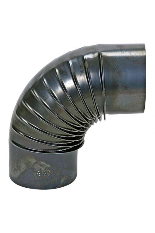 Cevno koleno za peč (120 mm, kot kolena: 0–90°, debelina stene: 0,6 mm, črna)