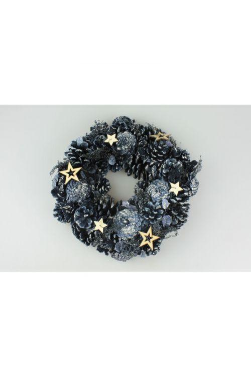 Okrasni venček s storži in zvezdicami (zlata - srebrna - črna, premer: 31 cm)