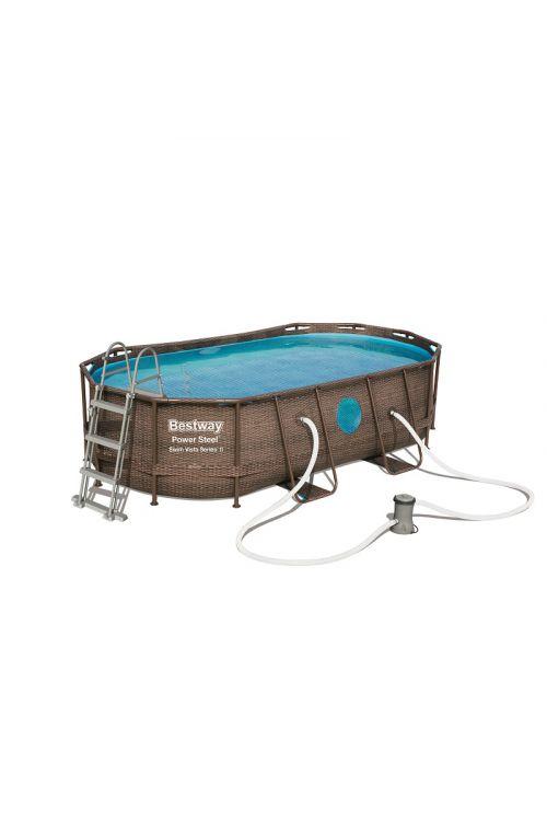 Montažni bazen Swim Vista Bestway (d 427 x š 250 x g 100 cm, filtrska črpalka 2.006 l/h, lestev, ponjava)