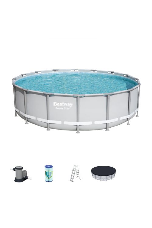 Montažni bazen Power Steel Bestway (š 488 x g 122 cm, filtrska črpalka 5.678 l/h, lestev, ponjava)