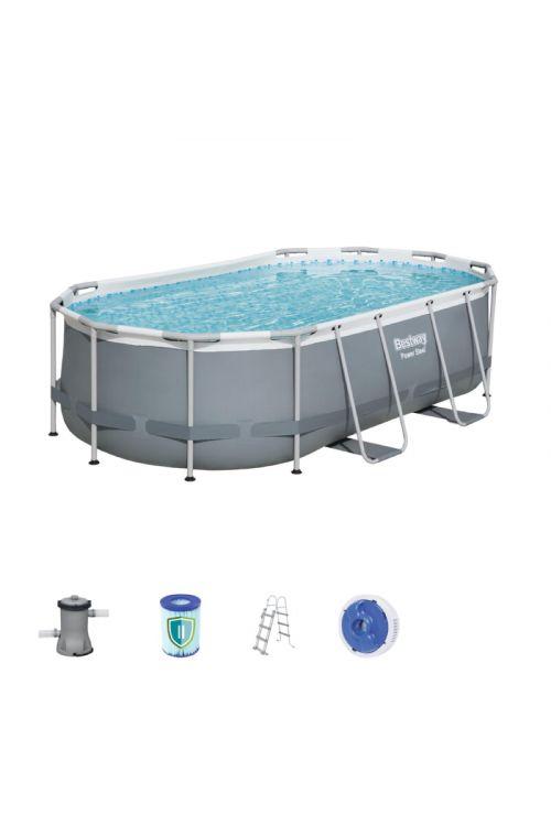 Montažni bazen Power Steel Bestway (d 427 x š 250 x g 100 cm, filtrska črpalka 2.006 l/h, lestev)